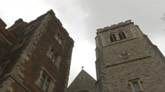 4k Old Castle Building & Church Clock Tower Stock Footage