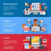 Blogging Flat Banners Stock Illustration