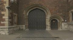 4k Huge Wooden Door on Old Castle Building Stock Footage