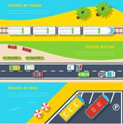 Ways To Travel Banners Stock Illustration