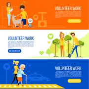 Volunteer people colored flat banner collection Stock Illustration