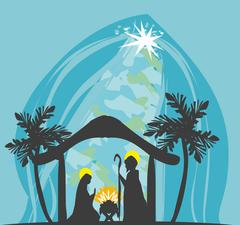 Birth of Jesus in Bethlehem Stock Illustration