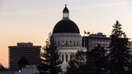 California State Capitol Dome Day to Night Time Lapse with Zoom In Stock Footage