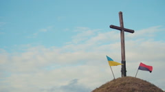 Two Ukrainian flags Stock Footage