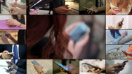 People hand writing message with smartphone- Multiscreen Stock Footage