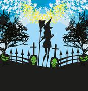 Illustration of witch  and cemetery Stock Illustration