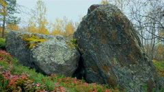 Large rocks covered with moss in the tundra. Stock Footage