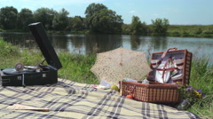 Retro picnic by the river 1 Stock Footage