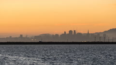 Oakland Airport Day to Night Time Lapse on San Francisco Bay with Zoom Out Stock Footage