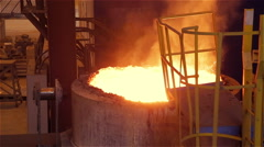 Steel Plant. Moving Tank with the Liquid Metal Stock Footage
