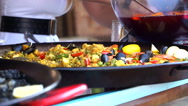 Street Vendor Serving Plate With Seafood Stock Footage