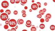 Red sale percentage circular stickers background Stock Footage