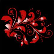 Red floral pattern with swirls Stock Illustration