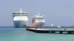 Cruise Ships docked in Carribbean Stock Footage