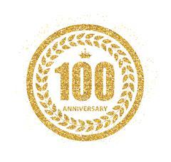 Template Logo 100 Years Anniversary Vector Illustration Stock Illustration