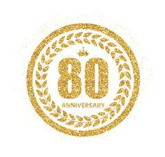 Template Logo 80 Years Anniversary Vector Illustration Stock Illustration