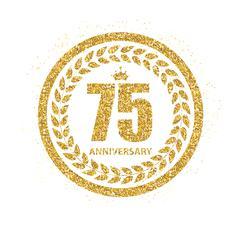 Template Logo 75 Years Anniversary Vector Illustration Stock Illustration