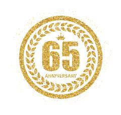 Template Logo 65 Years Anniversary Vector Illustration Stock Illustration