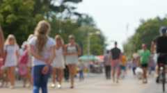 Crowd of tourists in the resort city Stock Footage