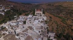 Aerial mountain village on Greek island. Stock Footage