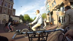 Riding a bicycle in Amsterdam. Stock Footage