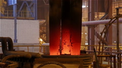 Steel Plant. Red-Hot Graphite Electrodes Melting Metal. Closeup Stock Footage
