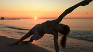Yoga near the sea Stock Footage