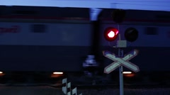 Flashing Signals At A Level Railway Crossing Stock Footage