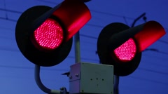 Flashing Lights Warn That A Train Is Approaching Stock Footage