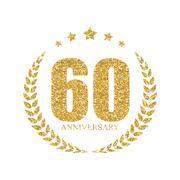 Template Logo 60 Years Anniversary Vector Illustration Stock Illustration