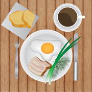 Fried eggs with bacon Stock Illustration