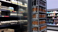 Motion of display eggs inside Walmart store Stock Footage