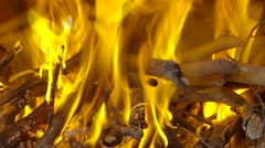 A bonfire burning in the dark night Stock Footage