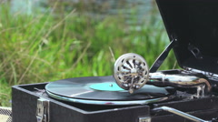 Old record spinning on a real gramophone. Retro style Stock Footage