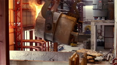 Steel Plant. Crane Pouring Tank with Liquid Metal. Sparks Stock Footage