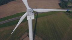 Aerial View. Beautiful windmill turbines sunset , wind energy turbines . Stock Footage