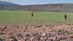 Masai children in Serengeti Stock Footage