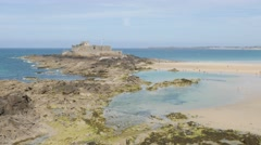 Fort of Saint-Malo beach in the northern France ocean bay Stock Footage