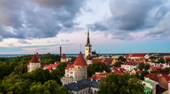 Aerial view of Tallinn, Estonia at sunset. Time-lapse Stock Footage