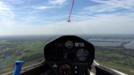 Cockpit point of view POV footage in glider sailplane flying towards lake 4k Stock Footage