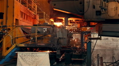 Steel Plant. Blast Furnance. Sparks and Flashes Stock Footage