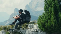 Resting Mountain Biker. Stock Footage