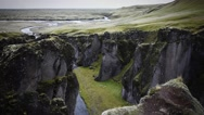 View of the Fjathrargljufur Canyon Stock Footage