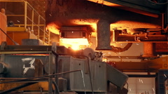 Steel Plant. Blast Furnance. Sparks and Flashes. Closeup Stock Footage