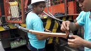 Huge electrical cable splicing and crimping Stock Footage