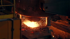 Steel Plant. Blast Furnance. Sparks and Flashes. Extra Closeup Stock Footage