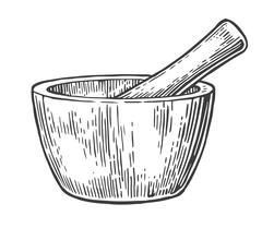 Mortar and Pestle. Vintage vector engraved illustration. Stock Illustration