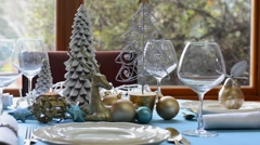 Stylish blue, gold and white Christmas table Stock Footage