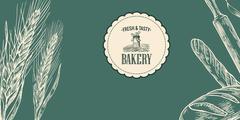 Bakery sketch.  Ears, rolls, pastries, bread, baguette, rolling pin. Stock Illustration