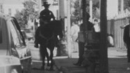 Vintage 1986 Super 8 LAPD Mounted Police on City Street Stock Footage